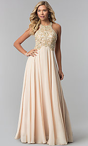 Image of long prom dress with embellished racerback bodice. Style: DQ-9776 Detail Image 3