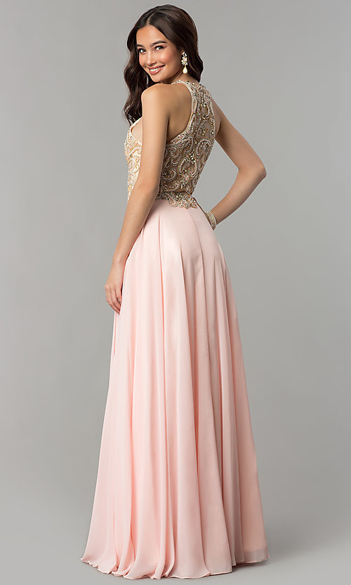 Image of long prom dress with embellished racerback bodice. Style: DQ-9776 Back Image