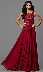 Long Chiffon Prom Dress with Bateau-Neck Lace Bodice