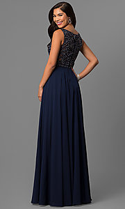 Image of long chiffon prom dress with bateau-neck lace bodice. Style: DQ-9847 Back Image