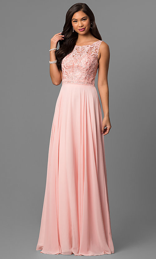 Image of long chiffon prom dress with bateau-neck lace bodice. Style: DQ-9847 Detail Image 2