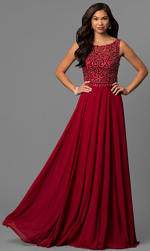 Image of long chiffon prom dress with bateau-neck lace bodice. Style: DQ-9847 Front Image