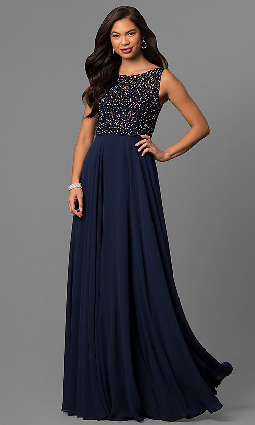 Image of long chiffon prom dress with bateau-neck lace bodice. Style: DQ-9847 Detail Image 1
