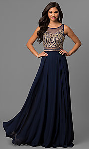 Long Scoop Neck Mock Two-Piece Prom Gown