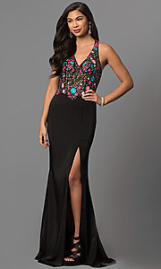 Long V-Neck Prom Dress with Embroidered Bodice