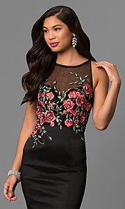 Image of long black mermaid prom dress with embroidered bodice. Style: DQ-9874 Detail Image 1
