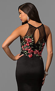 Image of long black mermaid prom dress with embroidered bodice. Style: DQ-9874 Detail Image 2