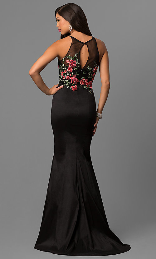 Image of long black mermaid prom dress with embroidered bodice. Style: DQ-9874 Back Image