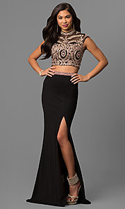 Two-Piece Long Prom Dress with Embroidered Lace