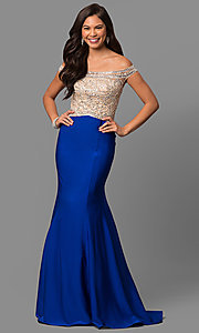 Off-the-Shoulder Embellished Long Prom Dress