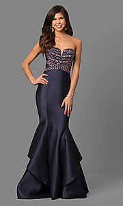 Long Strapless Prom Dress with Corset Back
