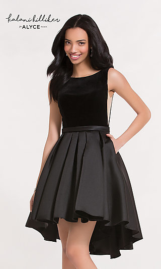 Scoop-Neck High-Low Homecoming Dress