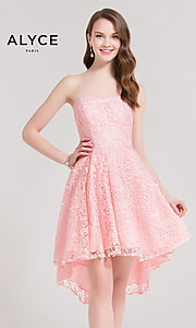 Strapless High-Low Lace Homecoming Dress