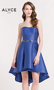 Image of Alyce strapless corset-back high-low party dress. Style: AL-3701 Front Image