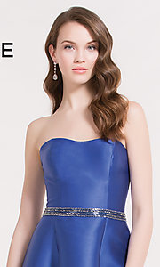 Image of Alyce strapless corset-back high-low party dress. Style: AL-3701 Detail Image 1