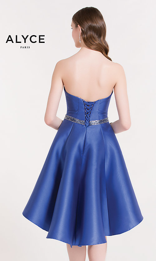 Image of Alyce strapless corset-back high-low party dress. Style: AL-3701 Back Image
