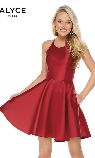 fa127bb112 Short Fit-and-Flare Open-Back Party Dress by Alyce