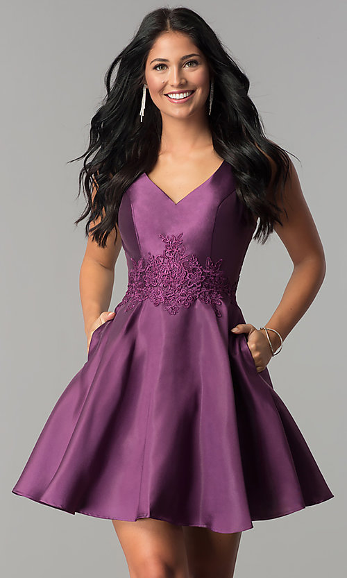 Image of v-neck short homecoming dress by Alyce Paris. Style: AL-3707 Detail Image 1