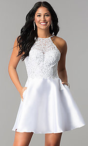 Short Homecoming Dress with Lace Bodice
