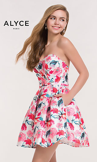 Floral Print Strapless Homecoming Dress