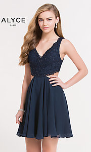 V-Neck Homecoming Dress with Lace Bodice