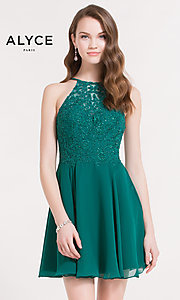 High-Neck Homecoming Dress with Beaded-Lace Bodice
