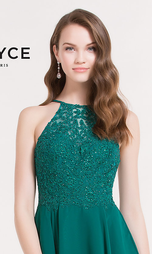 Image of high-neck homecoming dress with beaded-lace bodice. Style: AL-3714 Detail Image 1