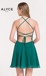 Image of open-back short chiffon homecoming party dress. Style: AL-3717 Back Image