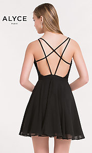 Image of Alyce Paris black homecoming dress with lace bodice. Style: AL-3720 Back Image