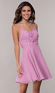 Image of Alyce Paris short homecoming dress with lace bodice. Style: AL-3720 Front Image