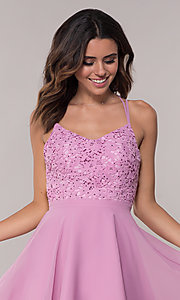Image of Alyce Paris short homecoming dress with lace bodice. Style: AL-3720 Detail Image 1
