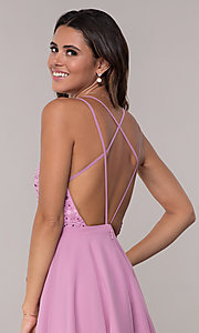 Image of Alyce Paris short homecoming dress with lace bodice. Style: AL-3720 Detail Image 2