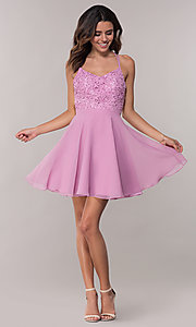 Image of Alyce Paris short homecoming dress with lace bodice. Style: AL-3720 Detail Image 3