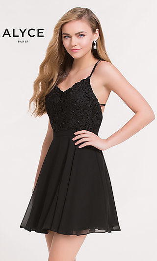 Alyce Paris Black Homecoming Dress with Lace Bodice