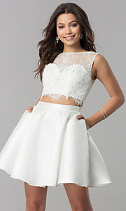Alyce Two-Piece Short Party Dress with Lace Top