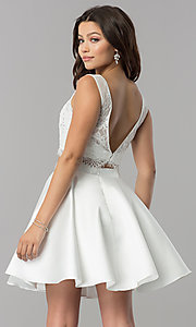 Image of Alyce two-piece short party dress with lace top. Style: AL-3734 Back Image