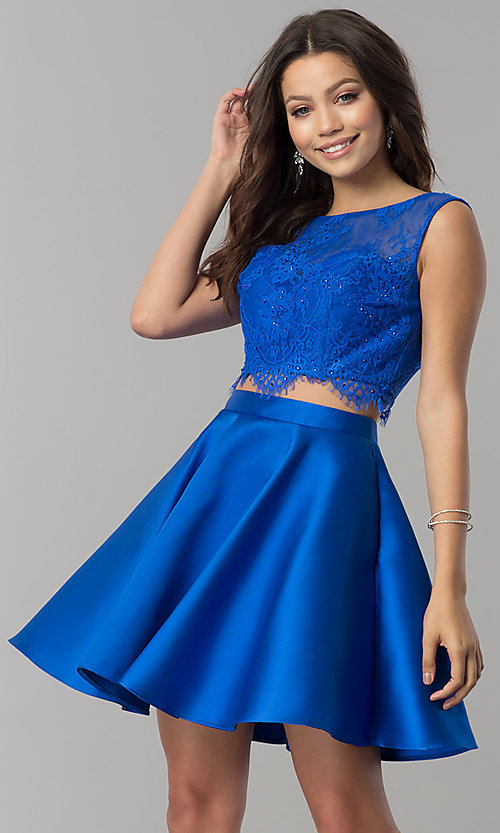 Image of Alyce two-piece short party dress with lace top. Style: AL-3734 Detail Image 1