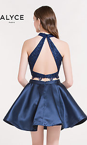Image of Alyce Paris short two-piece homecoming party dress. Style: AL-3735 Back Image
