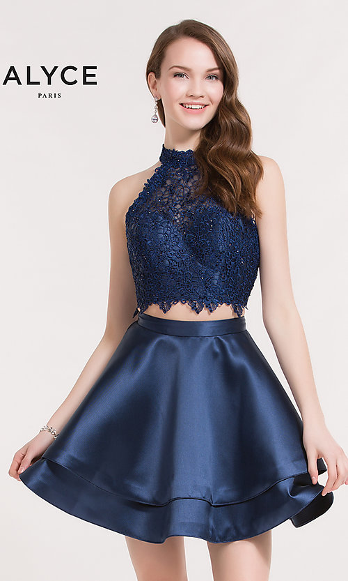Image of Alyce Paris short two-piece homecoming party dress. Style: AL-3735 Front Image
