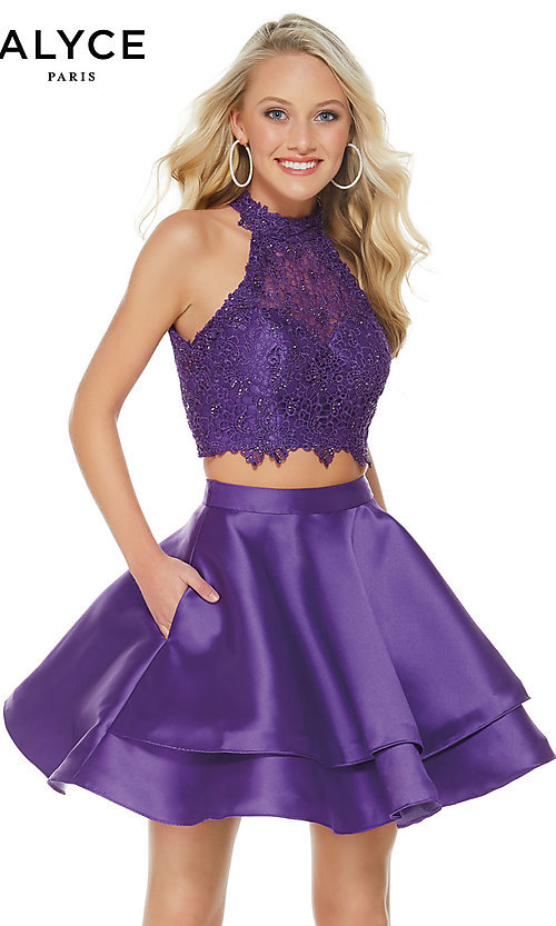 Image of Alyce Paris short two-piece homecoming party dress. Style: AL-3735 Detail Image 2