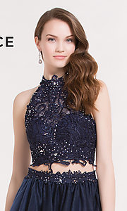 Image of short high-neck two-piece semi-formal dress by Alyce. Style: AL-3738 Detail Image 1