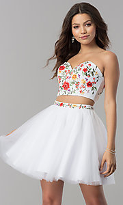 Two-Piece Embroidered Strapless Dress