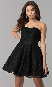 Image of short strapless sweetheart lace homecoming dress. Style: AL-3741 Detail Image 3