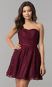 Image of short strapless sweetheart lace homecoming dress. Style: AL-3741 Detail Image 1