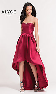 Image of strapless high-low semi-formal holiday party dress. Style: AL-3746 Front Image