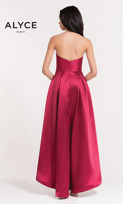 Image of strapless high-low semi-formal holiday party dress. Style: AL-3746 Back Image