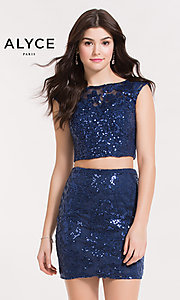 Two-Piece Sequin Embellished Dress