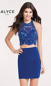 Two-Piece Halter Homecoming Dress