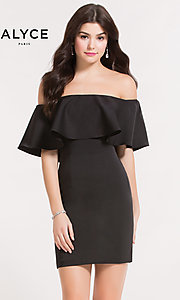 Black Popover Off-the-Shoulder Homecoming Dress