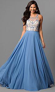 Illusion Sweetheart Long Prom Dress with Cut Out